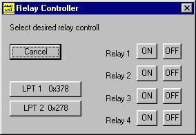 photo showing screen shot of relay control program